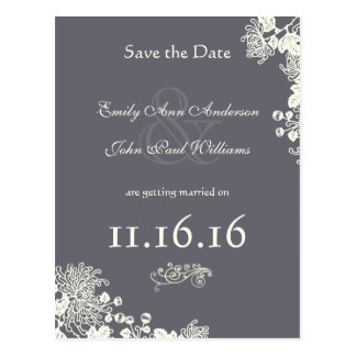 Vintage Zinnia Save the Date Gray and Ivory Postcard