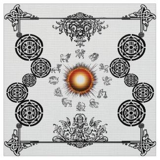 Vintage Zodiac Radiating Sun Art Deco Design Fabri Fabric