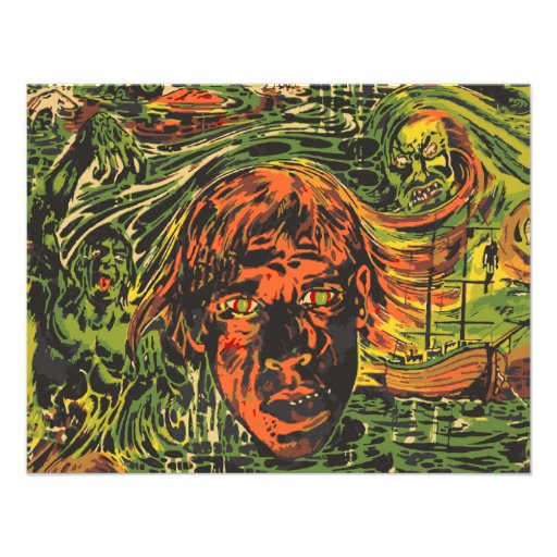 Vintage Zombies Graffiti Street Art Halloween Custom Invitation