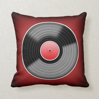 Vinyl Junkie Red Fade Square Throw Pillow