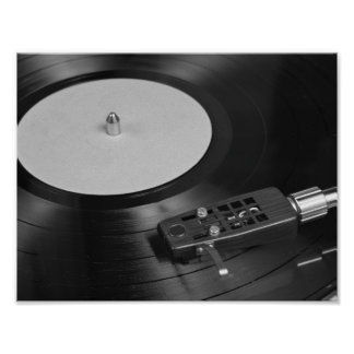 Vinyl record playing on a turntable poster