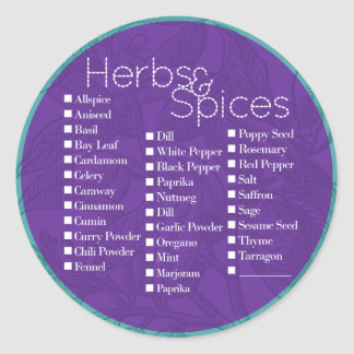 Violet Herbs & Spices Label Round Stickers