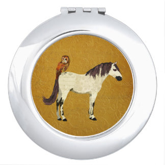 Violet Horse & Owl Compact Mirror