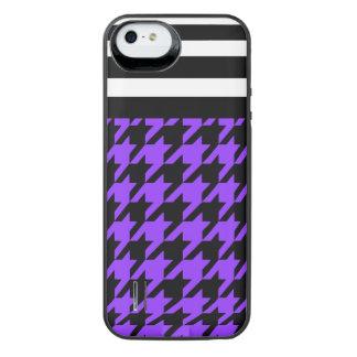 Violet Houndstooth w/ Stripes 2 iPhone SE/5/5s Battery Case
