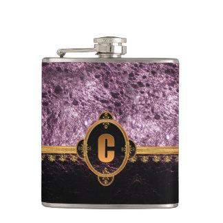 Violet Leather Monogram Hip Flask