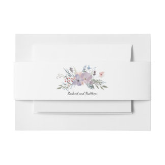 Violet Meadow Floral Wedding Invitation Belly Band
