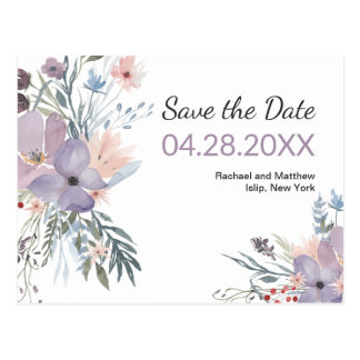Violet Meadow Watercolor Floral Save the Date Postcard