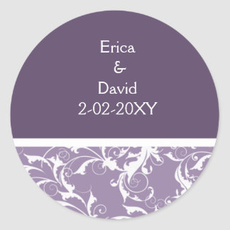 violet Monogram envelope seal Round Sticker