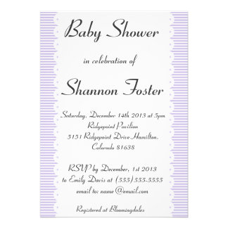 Violet Pinstripes Baby Shower Invitations