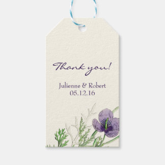 """Violet poppy wedding """"Thank You"""" favour gift tag"""