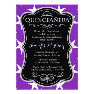 Violet Purple and White Stars Invitations