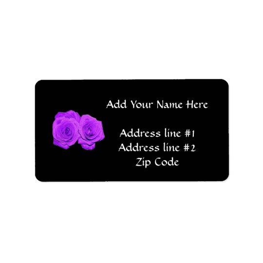 """Violet/Purple """"Enameled"""" Roses Address Label"""