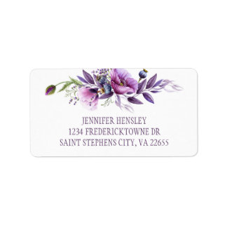 Violet Purple Lavender Wildflowers Address | Label