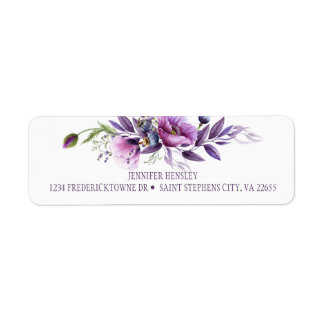 Violet Purple Lavender Wildflowers Return Address|