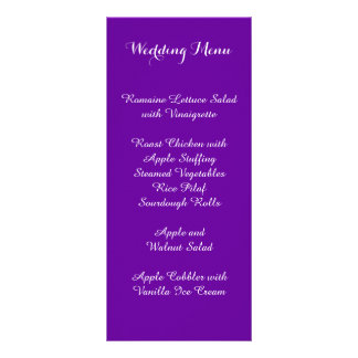 Violet Purple Wedding Menu Rack Card Design