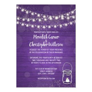 Violet Rustic Mason Jar Lights Wedding Invitation