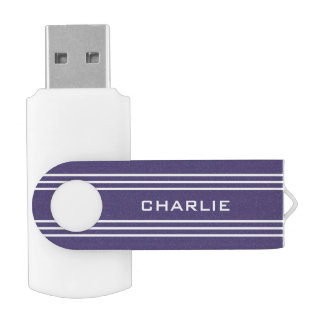 Violet Stripes custom monogram USB drives