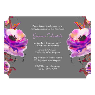 Violet Watercolor Poppies Naming Ceremony Invite