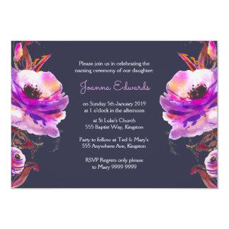 Violet Watercolor Poppies Naming Ceremony Invite