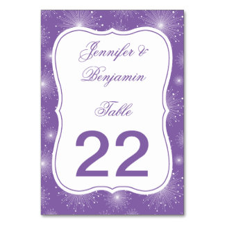 Violet White Sunbursts Starburst Table Cards