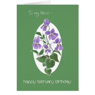 Violets, February Birthday Card for Niece