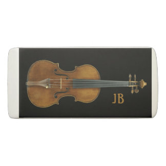 Violin by Stradivari with Custom Initials Eraser