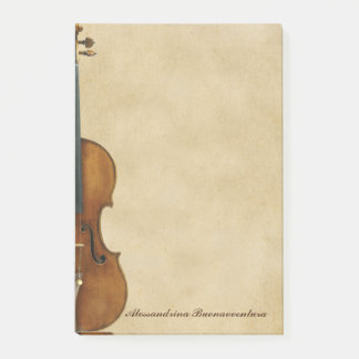Violin on Parchment Look Customisable Name Post-it Notes