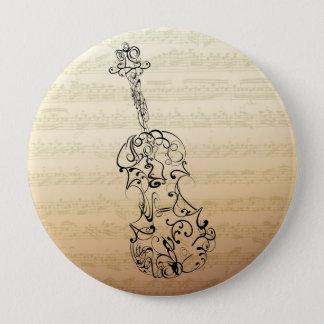 Violin Scrawl on Bach Manuscript 10 Cm Round Badge