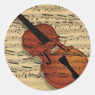 Violin Vintage Music Classic Round Sticker