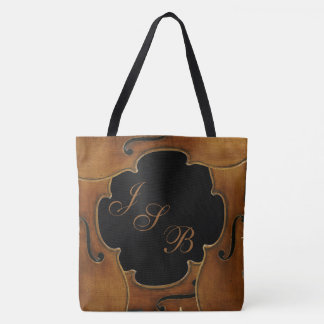 Violins Framing Custom Monogram on Black Lotus Tote Bag