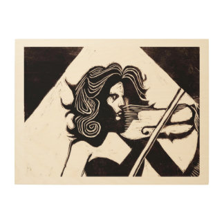 Violinst Music Lovers 24 x 18 Wood Wall Art