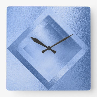 Vip Blue Aquatic Metallic Shiny Geometric Clock