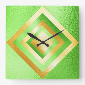 Vip Fresh Green Metallic Shiny Geometric Clock
