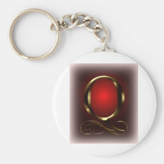 """VIP Gold """"Q"""" monogram in red and black Basic Round Button Key Ring"""