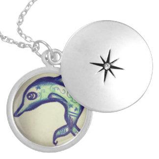 Virescent Dolphin Round Locket Necklace