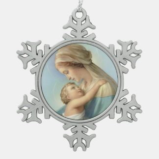 Virgin and Child Snowflake Pewter Christmas Ornament