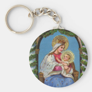 Virgin Mary and Baby Jesus Religious Keychain