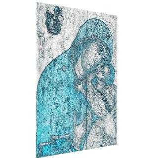 Virgin Mary Baby Jesus Angel Portrait Vintage Blue Canvas Print
