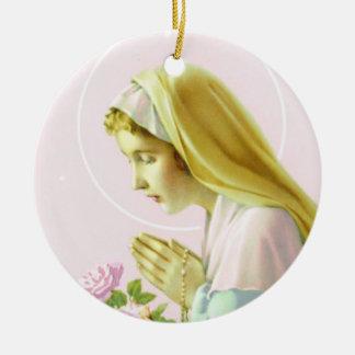 Virgin Mary Prayer _Pink Rose_Ornament Christmas Ornament