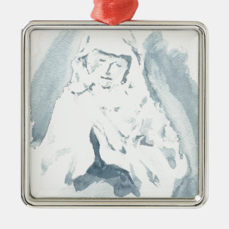 Virgin Mary Praying Silver-Colored Square Decoration