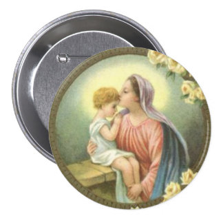 Virgin Mother Mary kissing the Baby Jesus Roses 7.5 Cm Round Badge