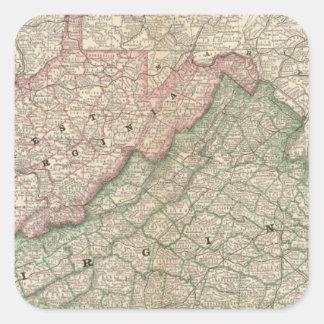 Virginia and West Virginia 2 Square Sticker