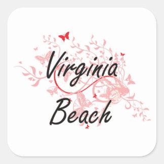 Virginia Beach Virginia City Artistic design with Square Sticker