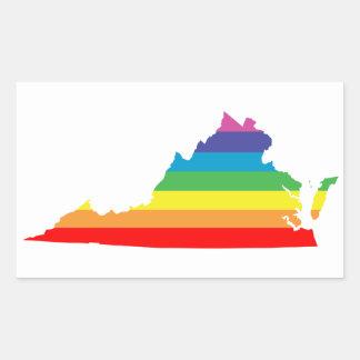 virginia rainbow rectangular sticker