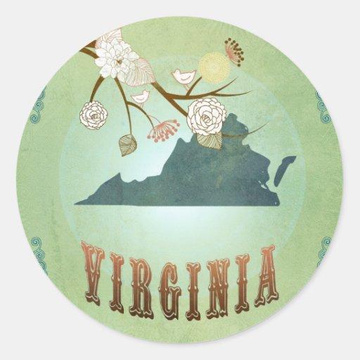 Virginia State Map – Green Round Sticker