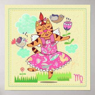 Virgo Cat Zodiac Nursery Print