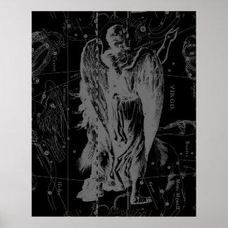 Virgo Constellation Hevelius 1690 Vintage Poster
