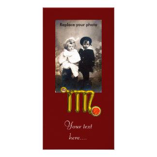 VIRGO / GOLD ORANGE AGATE ZODIAC SIGN JEWEL PERSONALISED PHOTO CARD