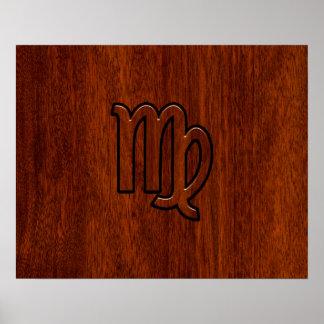 Virgo Sign in Mahogany wood style