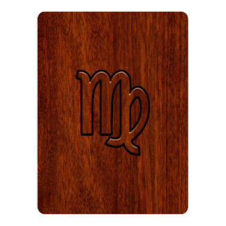 Virgo Sign in Mahogany wood style Card